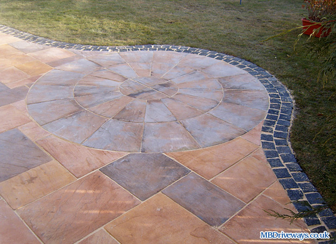 patio, edging, bradstone, old riven, flagstone, paving, border, setts, granite, circle